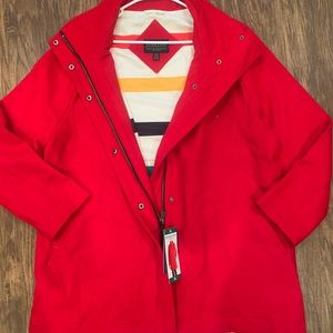 Woman red Pendleton coat